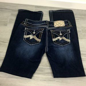 Miss Me Boot Cut Jeans Dark Wash Gold M Pocket 29